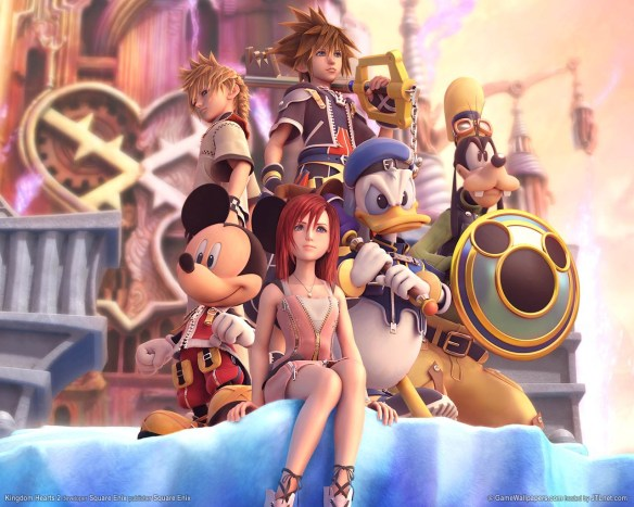 Sora and co. above Hollow Bastion