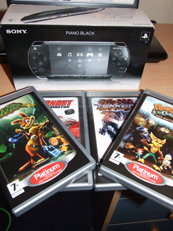 PSP; Daxter; Burnout Dominater; Tekken: Dark Resurrection and Ratchet & Clank: Size Matters