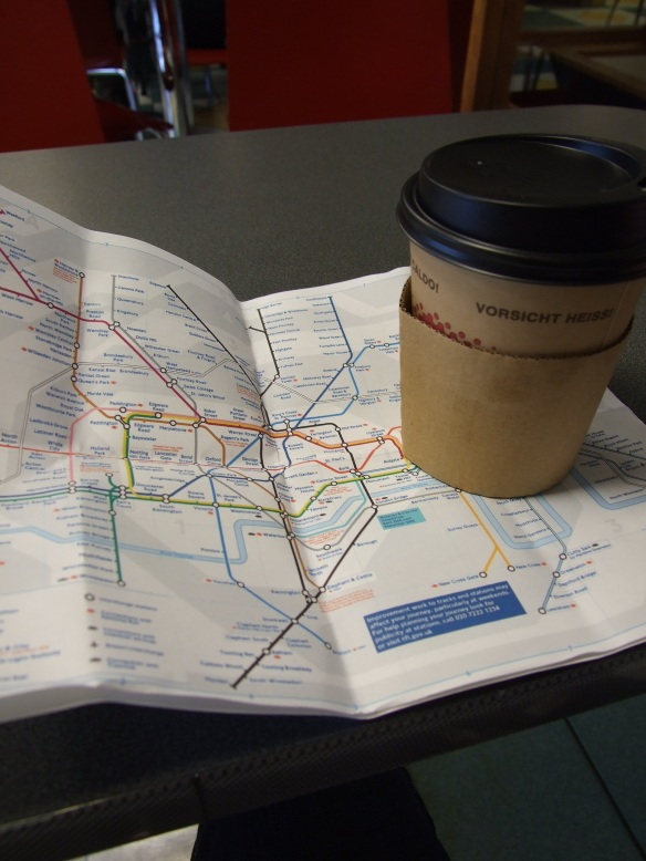 With half the underground lines shut, coffee was needed to work out an alternate route!