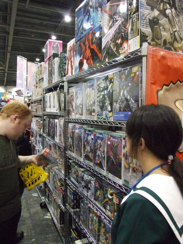 Lots of Gundam merchandise to drool over