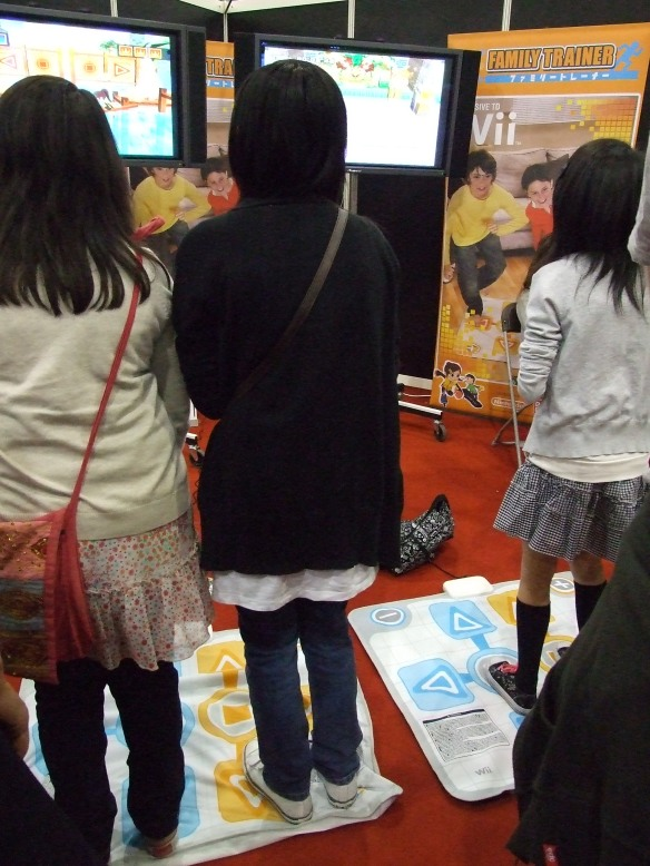 Family Trainer, using a dance mat controller for the Wii