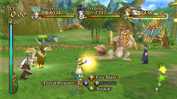 Combat can be fast and furious; echoes on the right, action guage on the left