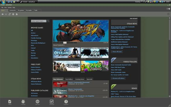 The homepage of Steam advertising various game promotions